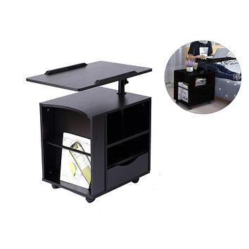 SIDUCAL Functional Bedside Table Adjustable & Swiel Wooden Nightstand with Drawers, Rolling Laptop Desk Computer Table, Black (Right Side) Black Willow