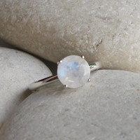 Round Moonstone Ring- Promise Ring- June Birthstone Ring- Engagement Ring- Stack Ring- Gemstone Ring- Gifts for Her- Jewelry Gifts