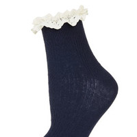 Navy Lace Trim Ankle Socks - Tights & Socks  - Clothing