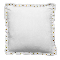Light Gray Studded Velvet Throw Pillow