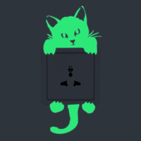 Creative Bright Home Decoration Luminous DIY Funny Cute Cat Switch Sticker Glow In The Dark Living Room Fluorescent Sticker