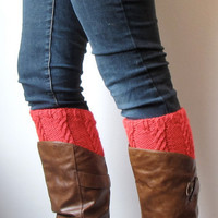 Red Knitted Boot Cuffs, Hand Knit Boot Toppers with Cables