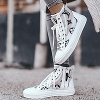 Louis Vuitton LV Old flower round head lace up women's shoes transparent casual flat bottom high top shoes