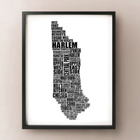 Manhattan Typography Map - New York City Neighborhood - NYC, Central Park