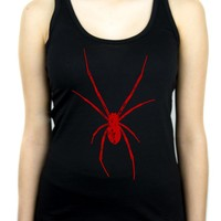 Red Print Black Widow Spider Women's Racer Back Tank Top Shirt