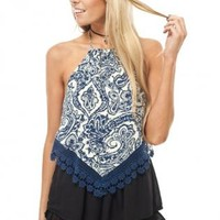 Blue printed halter top
