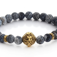 Blue Gray Natural Stone Bracelet with Gold Lion