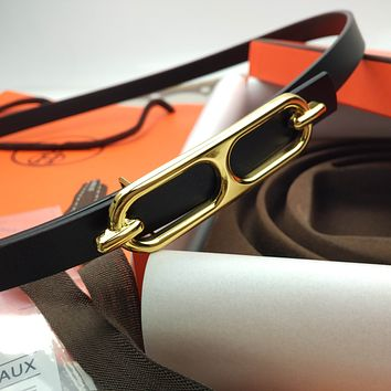 Hermes new golden pig nose buckle fashion ladies small belt