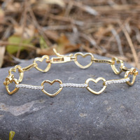 Ladies Heart Link Bracelet Designer Yellow Gold Plated Simulated Diamonds Cute