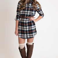 Nothing A Little Flannel Can't Fix Dress - Navy