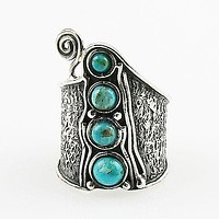 Blue Turquoise Whimsical Sterling Band Ring