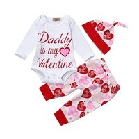 """3PC """"Daddy is my Valentine"""" Outfit Red and Pink Hearts"""
