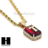 """STAINLESS STEEL RUBY ANKH CROSS PENDANT 24"""" ROPE CHAIN NECKLACE NP019"""