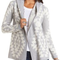 Hooded Aztec Print Open Front Cardigan - Ivory Combo