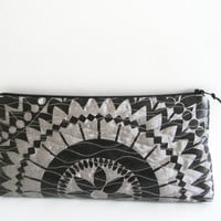 Geometric Bridal Clutch, Black and Gray Wedding Clutch, Gray Cocktail Purse, Geometric Flower Clutch