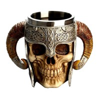 Skull Skulls Halloween Fall Stainless Steel  Coffee Drinking Cup Resin 3D  Tankard for Halloween Bar Party Horror Decor Calavera
