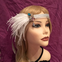 1920s crystal multi color blue pink gatsby flapper headband beaded white ostrich feather 20's art deco 1920's Rhinestone headpiece (672)