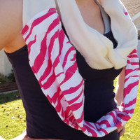 Pink and White Flannel Zebra Print and Fleece Infinity Scarf