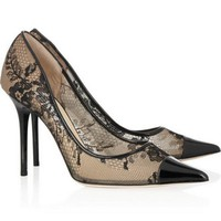 Jimmy Choo Women Fashion Gauze Lace Heels Shoes