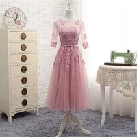 Pink Gray Champagne Blue Half Sleeve Tulle Lace Beautiful Cheap Dresses Formal Evening Dresses Long Party Gown Elegant BT179