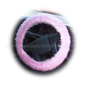 Blossom pink fuzzy faux fur car Steering wheel cover