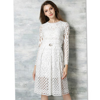 2017 Bohemia New Europe Slim Dress Hollow Long Sleeved Lace Dress Cute Hollow Office Dress Clothes for Women