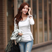 2016 Fashion t shirt Women Tops and Tees Button Femme Full Sleeve False Two Casual Camisetas Mujer Plus Size 71637