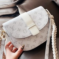 LV Fashion New Monogram Print Leather Shoulder Bag Crossbody Bag White