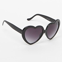 With Love From CA Black Plastic Heart Sunglasses - Womens Sunglasses - Black - One