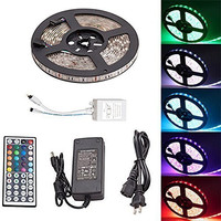 FLFLK 16.4ft 5M 300LEDs Waterproof Flexible Color Changing RGB SMD5050 LED Strip Lights Kit + 44 Key Remote + 12V 5A Power Supply