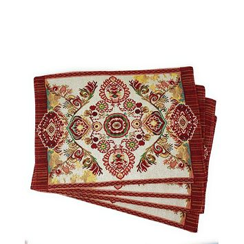 Tache Elegant Burgundy Ornate Paisley Woven Tapestry Placemat Set of 4 (18194)