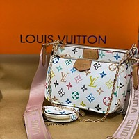 LV Fashion high-end wide shoulder strap chain cross-body bag versatile three-piece lady set