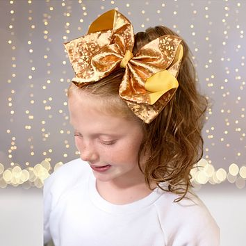 Girls 8 inch Metallic Grosgrain Boutique Hair Bow on Alligator Clip