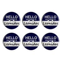 Leonidas Hello My Name Is Plastic Resin Button Set of 6