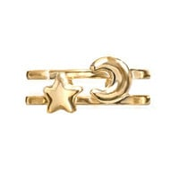 Tomas Jewelry Sterling Silver 14K Gold Plated Star and Moon Toe Ring