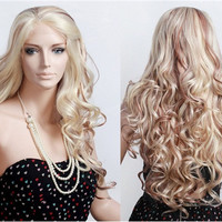 NAWOMI 4052 Women's Lace Front Big Wave Long Curly Wig (Gold)