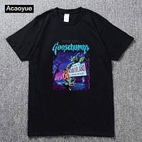 TRAVIS SCOTT Goosebumps Night of the Living Dummy 2 Men's and women's T-Shirt Tees Clothing  summer hip hop top cotton t-shirt