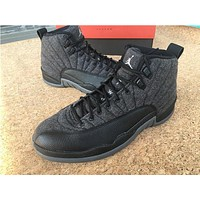 "Air Jordan 12 ""Wool""black/grey Basketball Shoes 41--47."