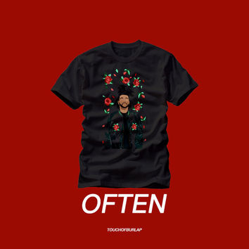 The Weeknd Floral Rose Pattern Print Black Red T shirt Crew neck Concert tee