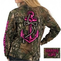 Country Life Outfitters Pink Bone Realtree Camo Anchor Bow Long Sleeve  T-Shirt