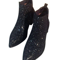 Black Stretch Side Sequin Pointed Ankle Boots