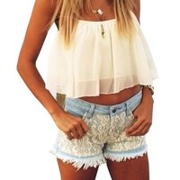 Lovaru Women's Outfit-white Flowy Lace Chiffon Hollow Yarn Crop TOP