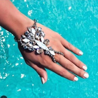 Womens Finger Bracelet Bohemian Gypsy Style with Gem Hand Chain