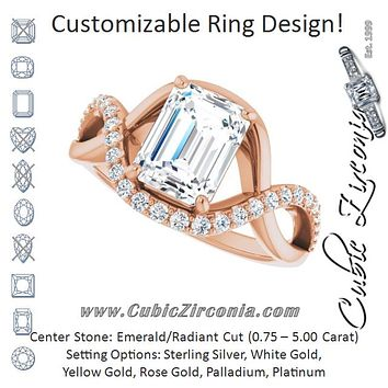 Cubic Zirconia Engagement Ring- The Kwan Lee (Customizable Radiant Cut Design with Semi-Accented Twisting Infinity Bypass Split Band and Half-Halo)