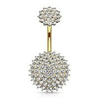 Internally Threaded Top CZ Paved Round Shields 316L Surgical Steel WildKlass Belly Button Rings