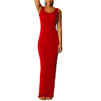 Women's Sexy Red Sleeveless Summer Scoop Neck Bodycon Party Long Maxi Dress