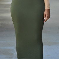 Green High Waist Bodycon Maxi Skirt