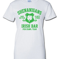 Shenanigans pub crawl bar scotland saint st. Patrick's Paddy's ireland irish scottish T-Shirt Tee Shirt Mens Ladies Womens mad labs ML-282g