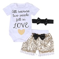 Cute born Baby Girl Cotton Letter Printed Short Sleeve Romper +Sequin Pants +Headband 3PCS Outfits Set Clothes 0-24M