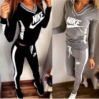 CREY9N Sexy Print V-Neck Sweatshirt Sweater Pants Sweatpants Set Two-Piece Sportswear